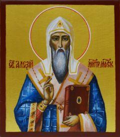 Рукописная икона Алексий Московский 3