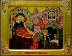 Рукописная икона Рождество Николая Чудотворца