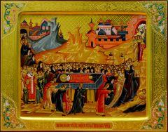 Рукописная икона Перенесение мощей Николая Чудотворца