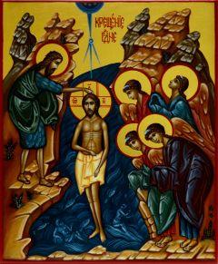 Рукописная икона Крещение Господне 3