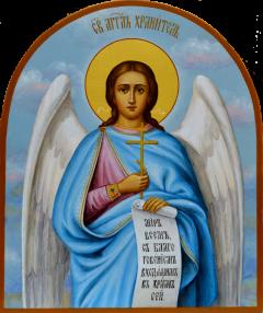 Рукописная икона Ангел Хранитель арочная 17