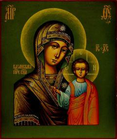 Рукописная Казанская икона под старину 10 (Размер 15*17 см)