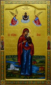 Мерная икона Анна Праведная с резьбой