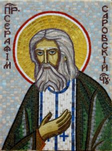 Икона из мозаики Серафим Саровский