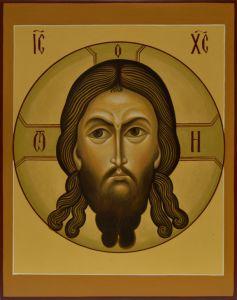 Рукописная икона Спас Нерукотворный под старину