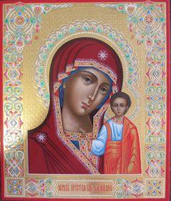 Рукописная икона Казанская 12