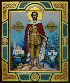 Рукописная икона князь Александр Невский