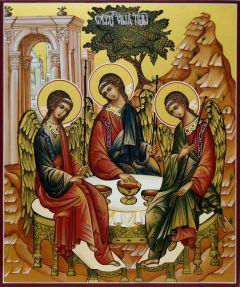 Рукописная икона Святая Троица 7 (Размер 21*25 см)