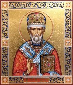 Рукописная икона Николай Чудотворец 10