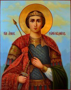 Рукописная икона Георгий Победоносец масло