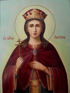 Рукописная икона великомученица Екатерина масло