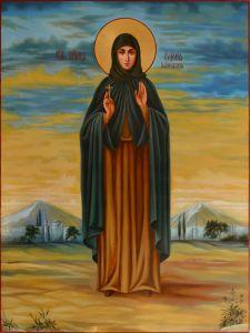 Рукописная икона Евдокия Илиопольская масло