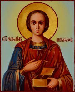 Рукописная икона Пантелеймон Целитель масло