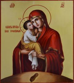 Рукописная икона Почаевская масло