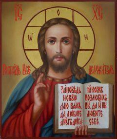 Рукописная икона Спас Вседержитель масло 17