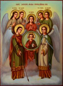 Рукописная икона Собор Архистратига Михаила масло