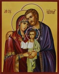 Рукописная икона Святое Семейство 4