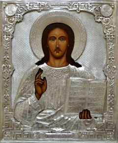 Рукописная икона Спас Вседержитель с серебряным окладом (Размер 22*28 см)