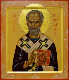 Рукописная икона Николай Чудотворец 20 (Размер 27*31 см)