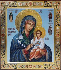 Рукописная икона Неувядаемый Цвет с резьбой 24
