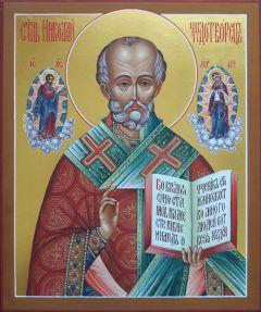Рукописная икона Николай Чудотворец с Предстоящими 21