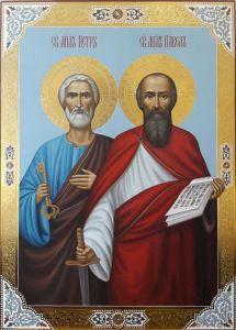 Рукописная икона Петр и Павел 3