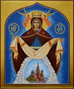 Рукописная икона Покров Пресвятой Богородицы 8