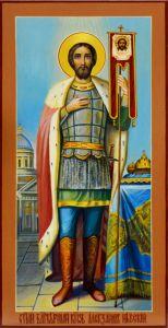 Рукописная икона Александр Невский 11 (Размер 13*25 см)