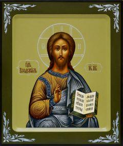 Рукописная икона Господь Вседержитель 9 (старинный Образ) (Размер 21*25 см)