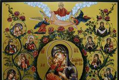 Рукописная икона Древо Богородицы (21 чудотворный Образ)