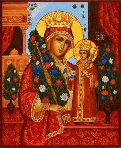Рукописная икона Неувядаемый Цвет 25 (Размер 17*21 см)