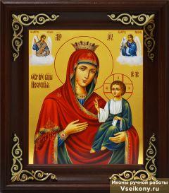 Рукописная икона Иверская с Архангелами (Размер 17*21 см)