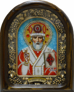 Икона из бисера Николай Чудотворец 2