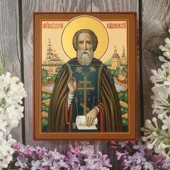 Рукописная икона Сергий Радонежский 10 (Размер 13*16 см)