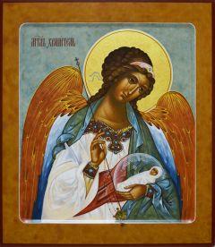 Рукописная икона Ангел с Душой Младенца 26 (Размер 27*31 см)