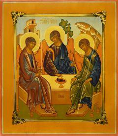 Рукописная икона Святая Троица (Рублевская) 10 (Размер 22*28 см)