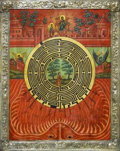 Рукописная икона Духовный Лабиринт с серебряной басмой (Размер 35*45 см)