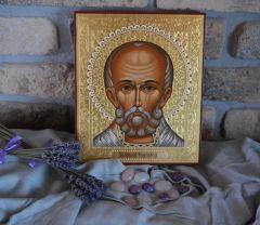 Рукописная икона Николай Чудотворец оплечный (Образ 17 века)