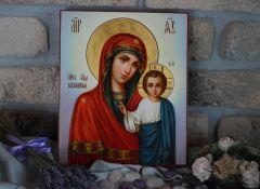 Рукописная Казанская икона масло 8 (Размер 17*21 см)