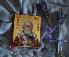 Рукописная икона Святитель Николай Чудотворец масло 3