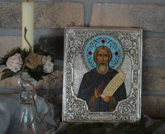 Рукописная икона Сергий Радонежский с эмалями (Размер 18*21 см)