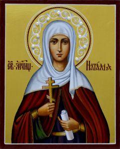 Рукописная икона Наталия Никомидийская с жемчугом 3 (Размер 13*16 см)