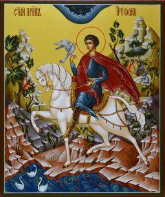 Рукописная икона Трифон мученик 5 (Размер 21*25 см)