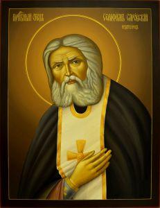 Рукописная икона Серафим Саровский 3