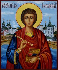 Рукописная икона Пантелеймон Целитель 7 (Размер 17*21 см)