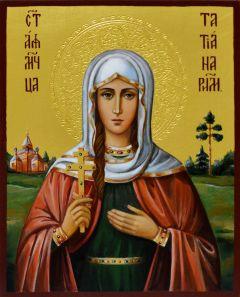 Рукописная икона Татьяна (Татиана) Римская 7 (Размер 13*16 см)