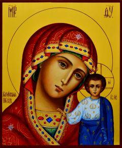 Рукописная Казанская икона живопись 17 (Размер 17*21 см)
