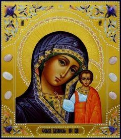 Рукописная Казанская икона с камнями 18 (Размер 27*31 см)