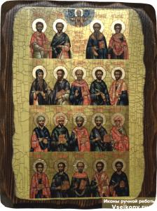 Икона состаренная Собор Целителей Бессребреников и Чудотворцев
