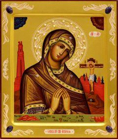 Рукописная Ахтырская икона с жемчугом